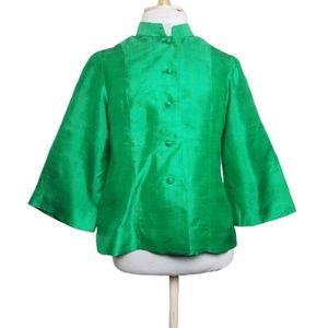 Vintage Bright Green Silk Slub Manadrin Collar S M